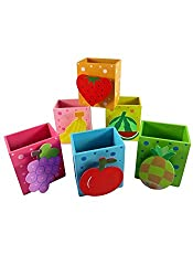 Set of 6 colorful and designer Fruits pencil holders with Photo clip for birthday Return Gift