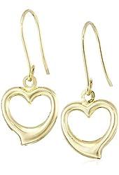 14k Yellow Gold Heart Drop Earrings