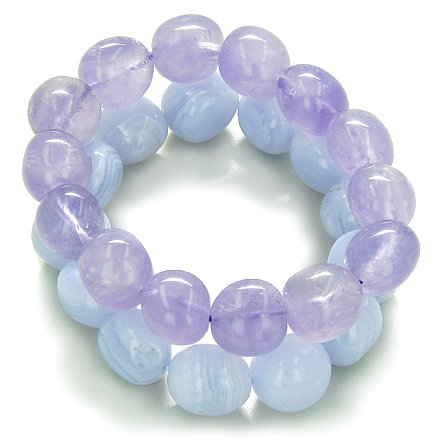 Amulet Double Lucky Set Amethyst and Blue Lace Agate Tumbled Crystals Good Luck, Protection Powers Lucky Gemstone Bracelets