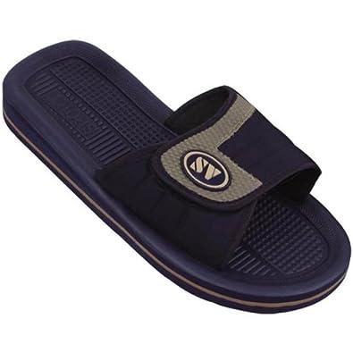 SV Men's Sandals Flip Flops Velcro Strap 2 Colors Slide Sandals Slip on Slippers Sports Shoes Sizes (9 D(M) US, Navy)