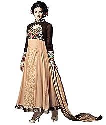 Mahaveer Fashion Women's Faux Georgette Semi-Stitched Anarkali (herrite_Creame_Free Size)