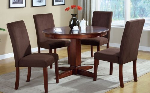 best price 5pc round dining table and parson chairs set in dark cherry