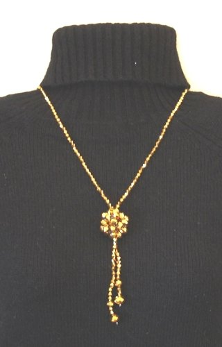 Beautiful Golden Crystal Ball Necklace is for