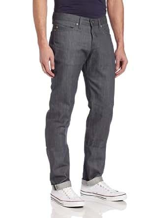 Naked & Famous Denim Men's WeirdGuy Low Rise Tapered Leg Jean In Grey Selvedge, Grey Selvedge, 28x35