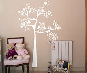 Vinilos decorativos de árbol con buhos y corazones 80x120 cms Blanco