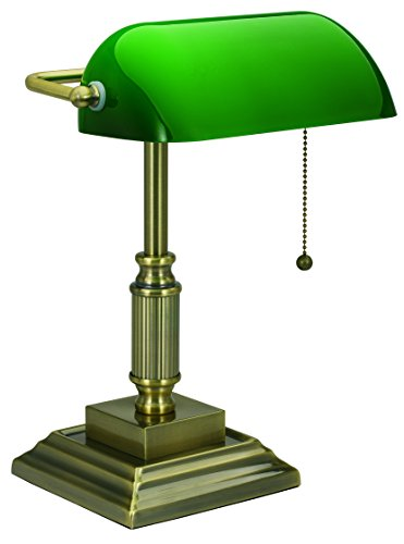 V-LIGHT Traditional Style CFL Banker's Desk Lamp with Green Glass Shade (VS688029AB) (Classic Lamp compare prices)