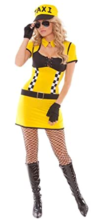 Take Me Home Tara (Taxi Driver - Style 9886) - 5 Pc. Costume Includes Dress, Neck Collar, Belt, Gloves and Hat. (M)