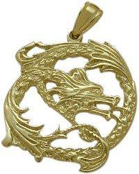10 Karat Yellow Gold Celtic Dragon Pendant with 20″ chain