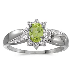 10k White Gold Oval Peridot And Diamond Ring (Size 10)