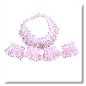 Binmer(TM)Cute Dog Clothes Pet Dog Accessories Sweet Romantic Pink Pet Decoration Five Piece Suit (S)