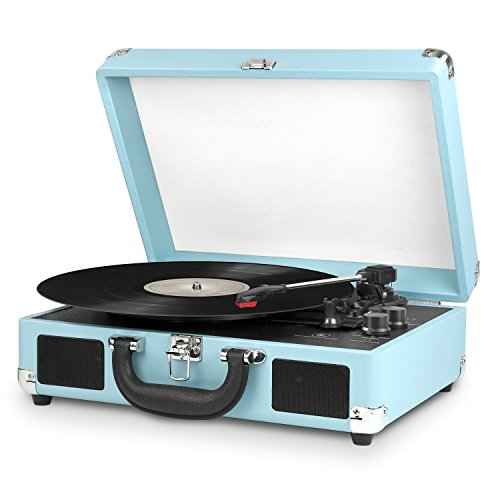 Innovative Technology Nostalgic 3-Speed Vintage Bluetooth Suitcase Turntable, Turquoise