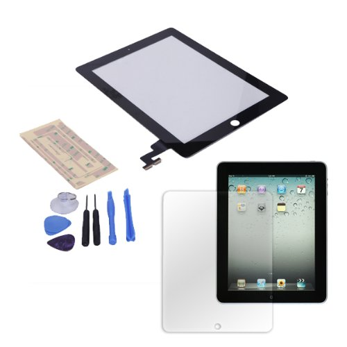 Hde Ipad 2 Digitizer Touch Screen Replacement Parts W/ 7-Piece Tool Kit, Adhesive Tape, And Screen Protector (Black)