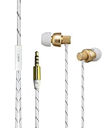 SLANZER Brand Premium Quality Ear Phone With MIC for Samsung, MicroMax, Sony Xperia, Motorola, Nokia Lumia, HTC, Google Nexus, LG, iPhone Mobile & Tablets - Gold (SZE N205GD)