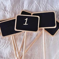 Chalkboard Stakes for Numbering Guest Tables, Rectangular 2.5 in x 1.5 in