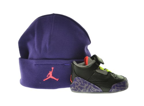 Jordan 3 Retro (GP) Infants Shoes Gift Pack Black/Atomic Red-Cement Grey-Violet 574416-039 (4 M US)