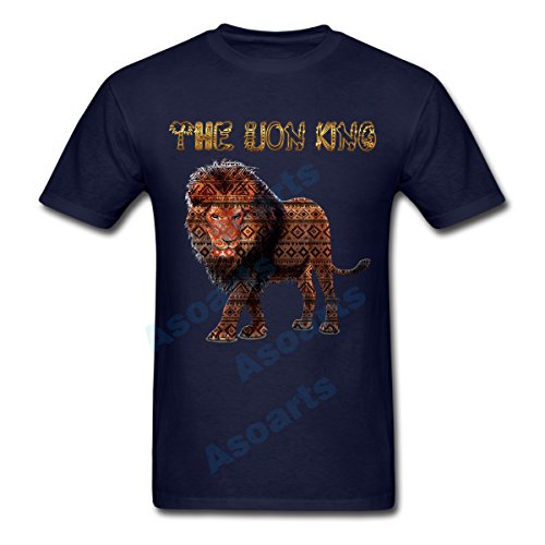 Men's Cool Lion king Graphic Unisex T Shirt Animal Lover Indian Tribal Pattern T-Shirt Indian Art Work Shirt,106 (Dark Blue, XX-Large) (Champion Aeropostale compare prices)