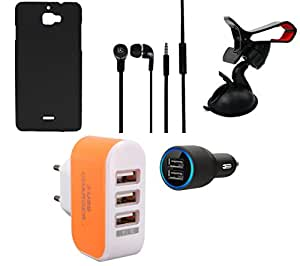 NIROSHA Cover Case Car Charger Headphone Mobile Holder Charger for Micromax Canvas Nitro 2 - Combo