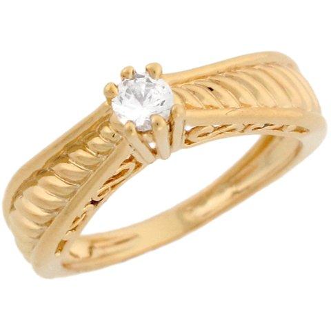 10k Yellow Gold Unique Design Round CZ Ladies Promise Ring