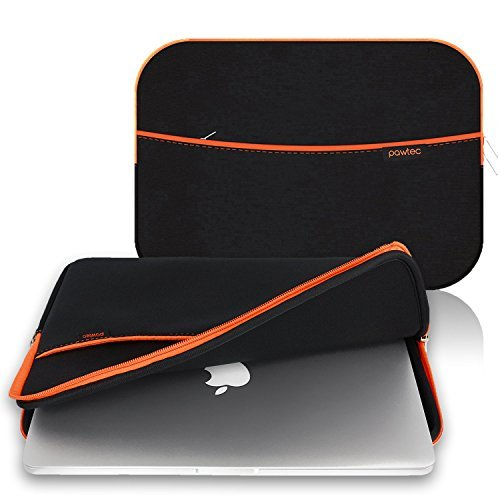 Pawtec MacBook 13-Inch Pro / Retina / Air Laptop Neoprene Sleeve Protective Storage Carrying Case With Extra Storage Pocket for Accessories and Wall Charger (Black) (Laptop Wall Storage compare prices)