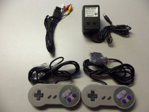 Super Nintendo SNES Controllers, AV cable, power adapter bundle (Super Nintendo Power Adapter compare prices)