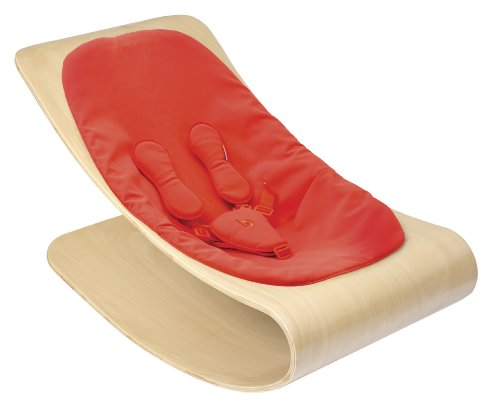 Bloom Coco Stylewood Baby Lounger with Seat Pad, Natural Frame, Rock Red (Leatherette)
