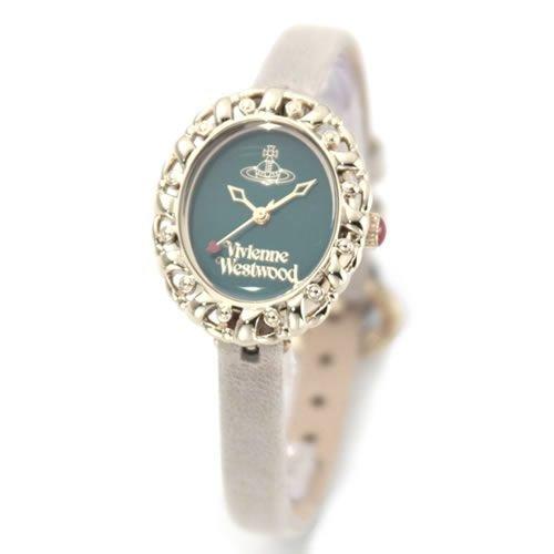 [ヴィヴィアンウエストウッド]Vivienne Westwood 腕時計 ロココ エメラルドグリーン×ゴールド グレーベージュ レザーベルト VV005GRGY レディース S [並行輸入品]