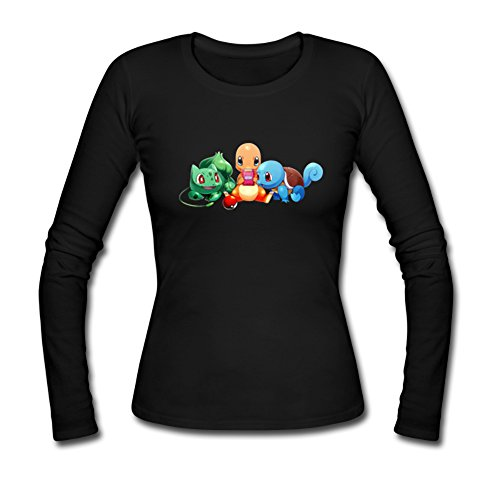 Pokemon Monsters Custom Design Womens Long Sleeve T-shirt Tee Shirts vogue natural wave black brown medium side bang synthetic adiors wig for women