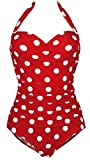 1950s Retro Red Vintage One Piece Monokini White Polka Swimsuits Swimwear M(FBA)