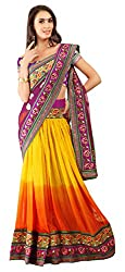 Jiya Fashion Women's Net Lehenga Choli (Multi-Coloured)