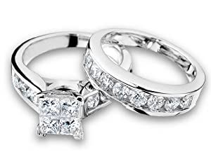 Princess Cut Diamond Engagement Ring and Wedding Band Set 1 Carat (ctw) in 14K White Gold, Size 9.5