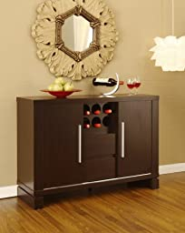 Dining Room Server Sideboard Buffet with Wine Storage , Cappuccino Finish