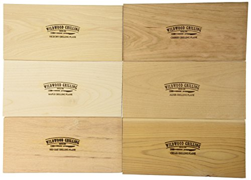 Grilling Plank Variety Pack- Cedar/Alder/Hickory/Cherry/Maple/Red Oak – 6 Planks 5×11