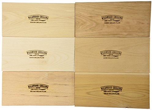 Grilling Plank Variety Pack- Cedar/Alder/Hickory/Cherry/Maple/Red Oak – 6 Planks 5×11