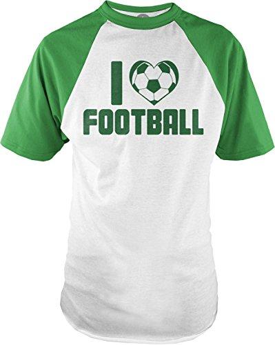 Big Texas I Heart Football (Green) Mens Short-Sleeve Raglan T-Shirt, White / Emerald, M