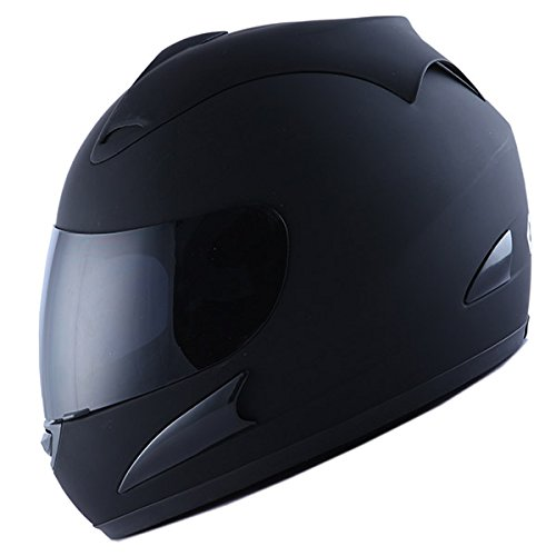 Motorcycle Street Bike Matt Black Full Face Helmet + Two ...