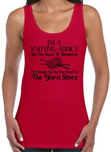 Knitting Addict On The Road To Recovery Yarn Store Juniors Tank Top Medium Cherry Red