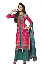 Elegant Trendz Womens Cotton Semi Stitched Embroidery Dress (ET06_Pink and Green)