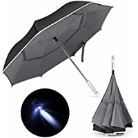 Veckle Reflective Piping Double Layer LED Car Reverse Folding Umbrella