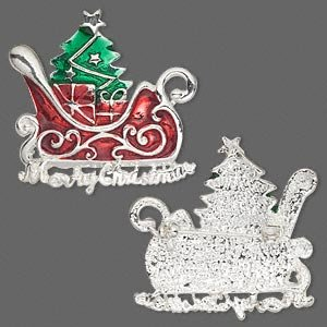 Fun and Lovely Santa Sleigh and Christmas Tree Brooch, Silver-plated Pewter with Enamel, Red, Green, 39x37mm