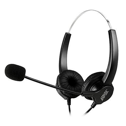 Binaural 2,5 mm per cuffia, AGPtek 6 FT mani gratis Binaural Headset auricolare con microfono, fascia Comfort Fit per Panasonic telefoni fissi, maggior parte dei telefoni senza fili