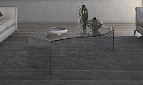 Tavolo da salotto in vetro. Tavolo da ufficio o sale attesa. Tavolo da divano Mod.Lumaca Cm 110 x 75 x h.32 Finitura: Bianca, Art.T41C/04