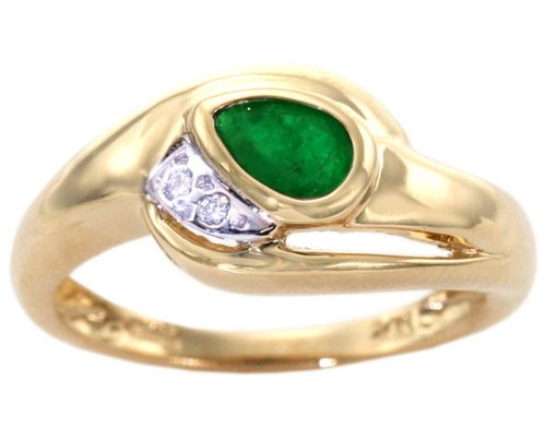 14K Yellow Gold East-West Pear Gemstone and Diamond Ring-Emerald, size7