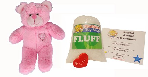Make Your Own Stuffed Animal Mini 8 Inch Pink Heart Patch Bear Kit - No Sewing Required! - 1