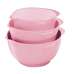 KitchenAid Pro Set of 3 Mixing Bowls, Pink
