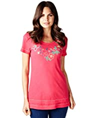 Per Una Pure Cotton Floral Embroidered Tunic