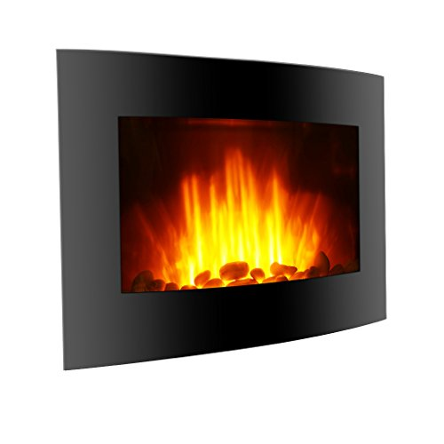 Finether 1500W Adjustable Wall Mounted Electric Fireplace Heater with 3D Patented Flame, 7 Color Changeable LED Backlight and Remote Control, Black (Led Fireplace Stand compare prices)