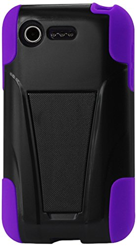 Reiko Silicon Hard Hybrid Kickstand Case For Lg Optimus Fuel L34C/Lg Optimus Zone 2 Us Carrier Verizon, Straight Talk - Retail Packaging - Purple front-946222