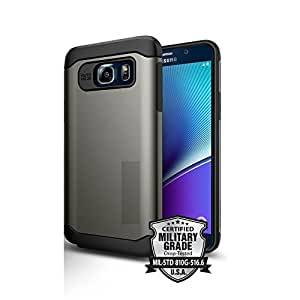 Kian Slim Armor Case for Samsung Note 5 with all-around protection and dual layered, Silver