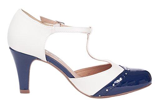 Chelsea Crew Gatsby Vintage Wingtip T-Strap Two Tone Mary Jane Pump Heel 2