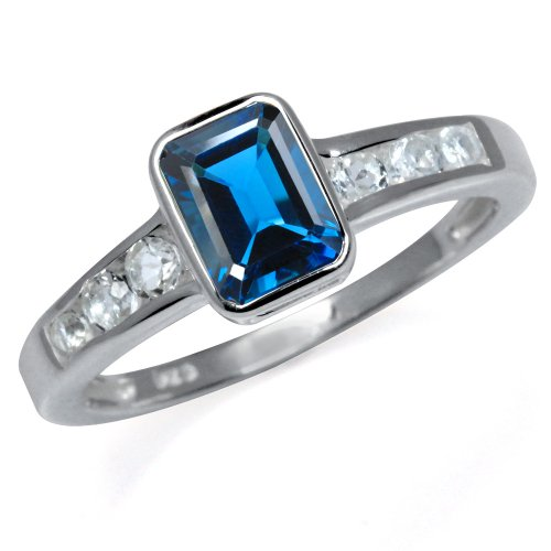 Natural London Blue & White Topaz 925 Sterling Silver Engagement Ring Size 7